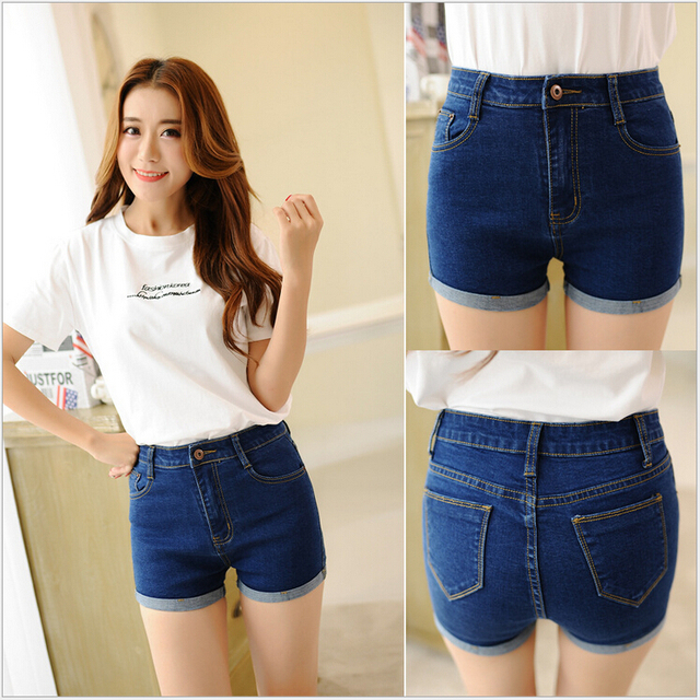 2016 New Arrival Women Summer Jeans Slim Brief  Roll Up High Waist Tight Shorts Blue Plus Size 25-34