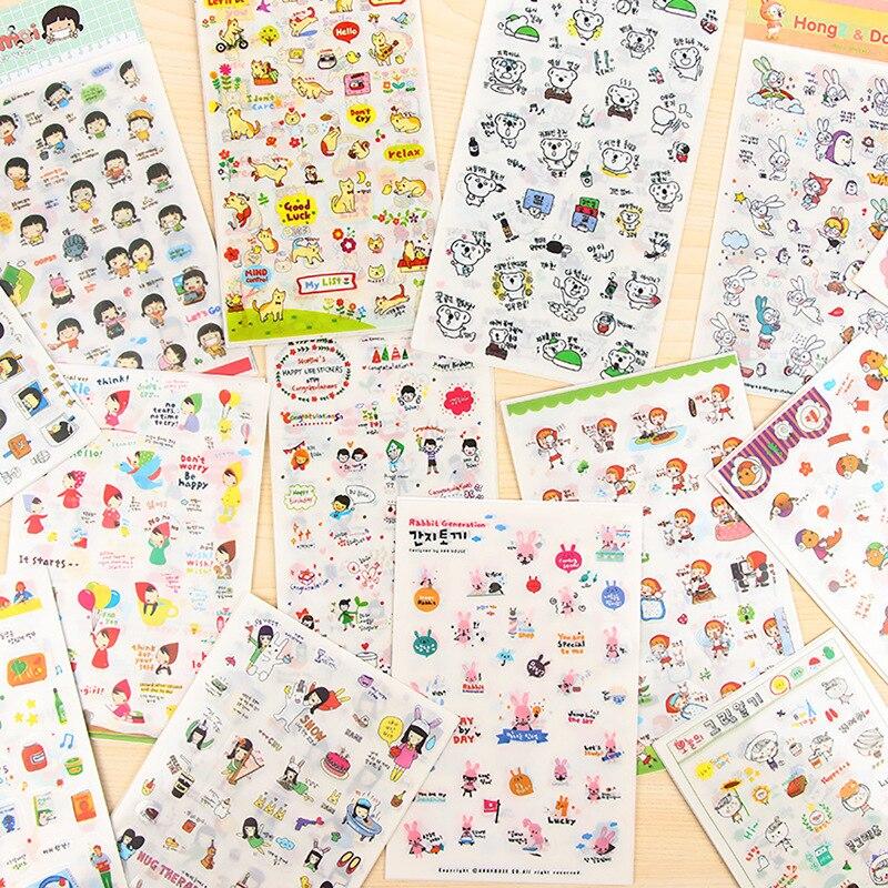 17styles Cartoon PVC Sticker Set Decorative Adhesive Stickers DIY Decoration Diary Stationery Transparent Stickers Children Gift