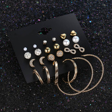 12 Pairs/lot Moon Infinity Heart Hoop Earring Set for Women Butterfly Angle Wings Simulated Pearl Circles Pendientes Jewellery