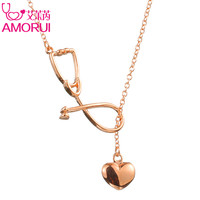 AMORUI Medical Stethoscope Lariat Heart Pendant Necklace Nurse Doctor Gold/Silver Color Gift Fashion Jewelry Bijoux Femme 1