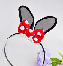 Cute Rabbit Ears Hairbands Dot Print Bowknot Hairsticks Sex Black Bunny Ornament Hair Clips For Girls Accessories