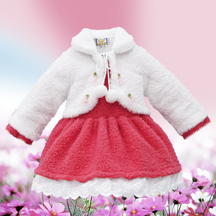 2019 Little Q coral fleece long sleeve baby princess clothes warm winter 2 pieces blouse fashion kid clothing children apparel in Dresses from Mother Kids