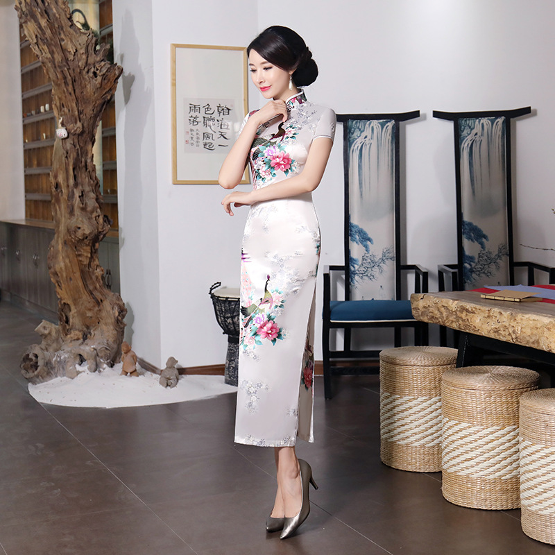 Sexy White Bride Wedding Dress Summer New Women Satin Long Qipao Print Flower Chinese Cheongsam Plus Size 3XL 4XL 5XL 6XL 0182