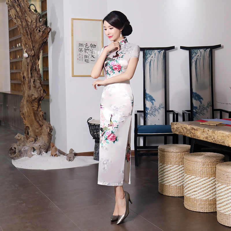 bc658baaf Sexy White Bride Wedding Dress Summer New Women Satin Long Qipao Print  Flower Chinese Cheongsam Plus