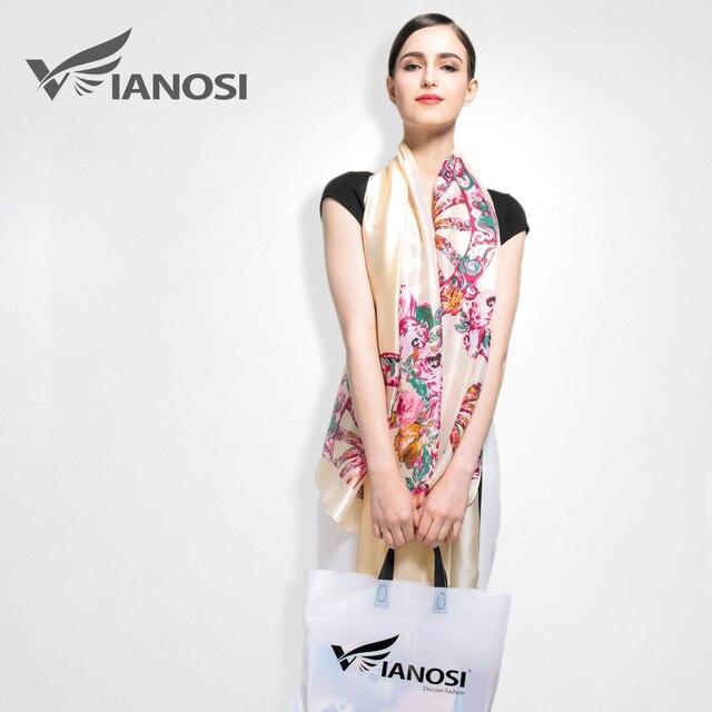[ VIANOSI ] 2016 мода шарфы женские бренд класса люкс печать богемия стиль бандана женская шелковые платки и шарфы аксессуары VA011
