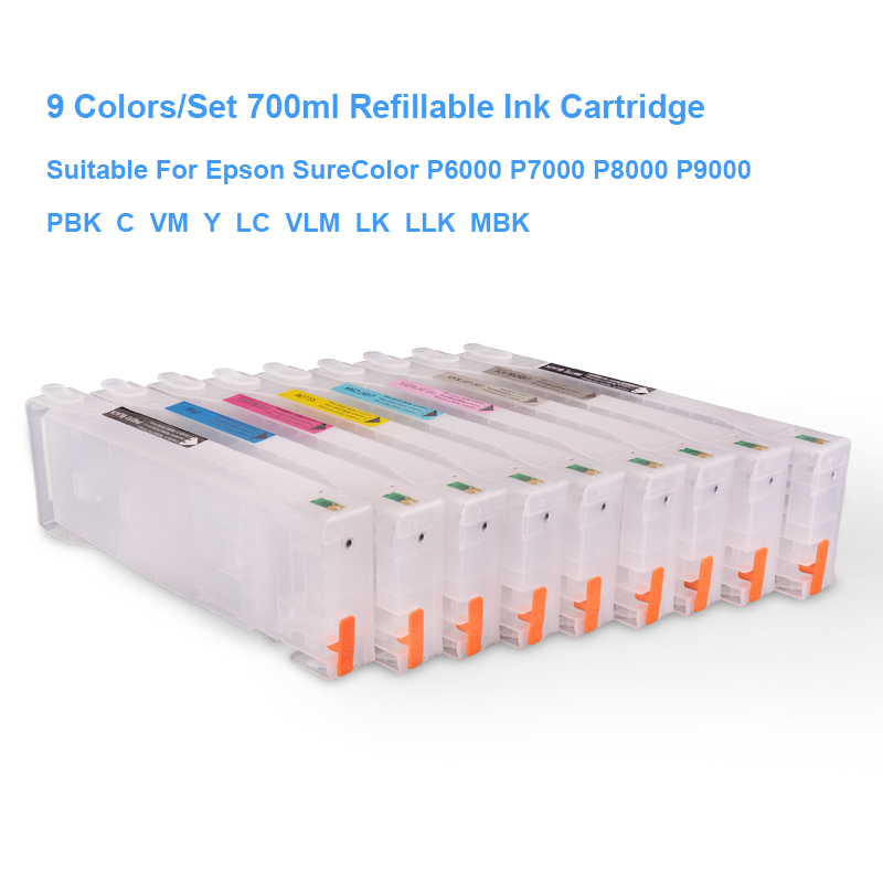 US $199 88 |9Colors/Set T8041 T8041 T8049 Empty Refillable Ink Cartridge  For Epson SureColor P6000 P7000 P8000 P9000 Printer 700ML/PC-in Ink