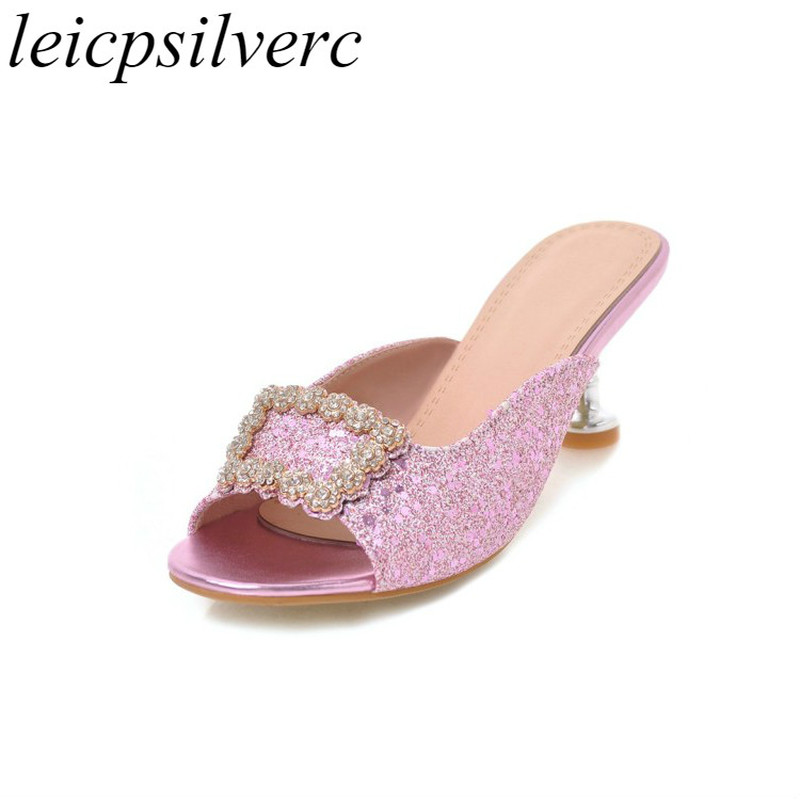 Women Pumps Mules Shoes High Heel Slip On Bling Crystal Peep Toe 2018 Summer Slides Sexy Fashion Casual Party Gold Silver Pink