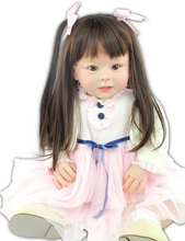 28 inch New Face Cradle Toddler Silicone Reborn Babies Dressup Doll Toy Girls' Gift Brown Hair Dolls
