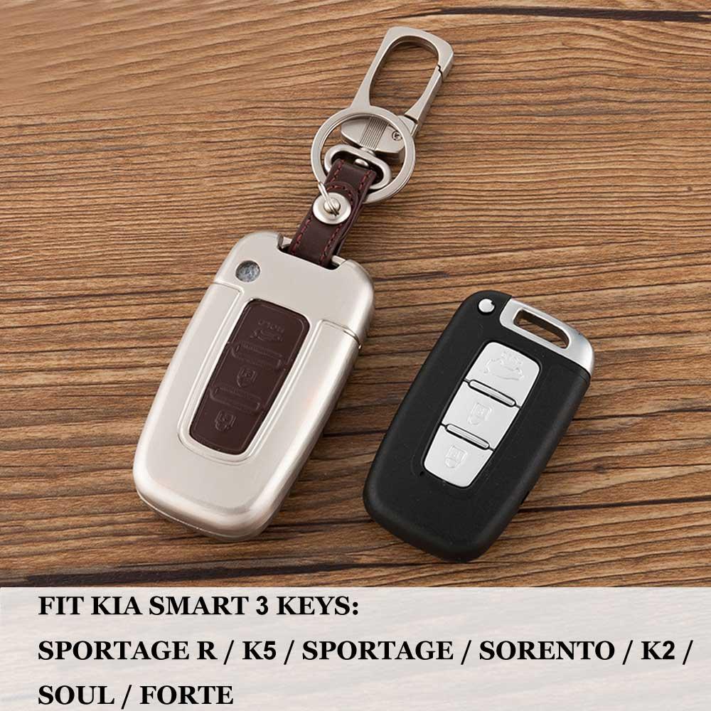 For KIA SOUL/Sportage R/K5/FORTE/SORENTO/K2/Sportage Real Leather Smart 3 key buttons car Key fob case cover shell keychain set