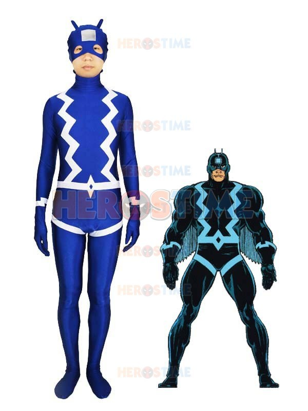 The Black Bolt Blue Spandex Superhero Costume Fullbody Halloween Zentai Suit Free Shipping