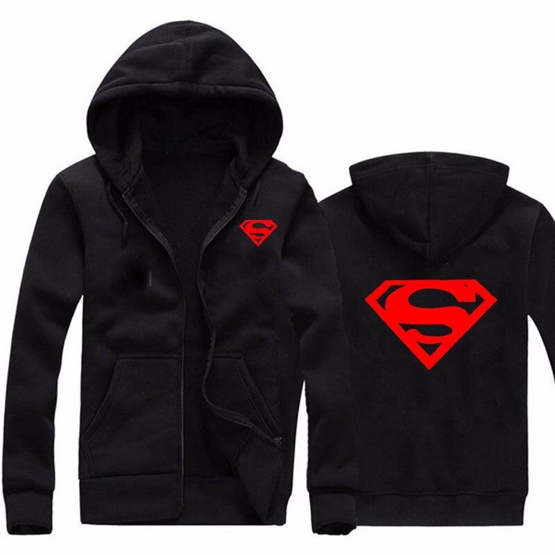 2018 Осенняя мода Супермен печати кофты мужские повседневные молнии с капюшоном мужчин хип-хоп Кардиган Куртка с капюшоном Размер M-XXL