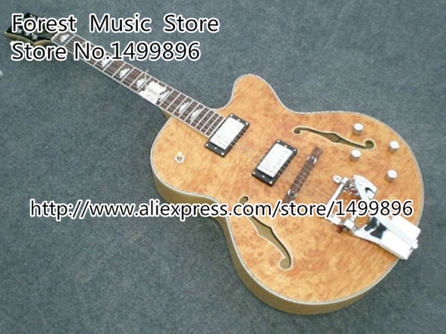 Cheap Nature Wood Quilted Electric Chinese Jazz Guitar with Bigsby and White Inlay Hollow Guitar Body Available