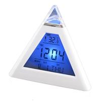 Coloré trigonométrique muet alarme de projection horloges numérique LED réveil avec rétro-éclairage + thermomètre + calendrier