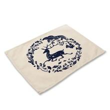 Blue and white porcelain Pattern Place mat Dining Table Mat Tea Coaster Cotton Linen Pad Cup Mats 42*32 cm Home Decor