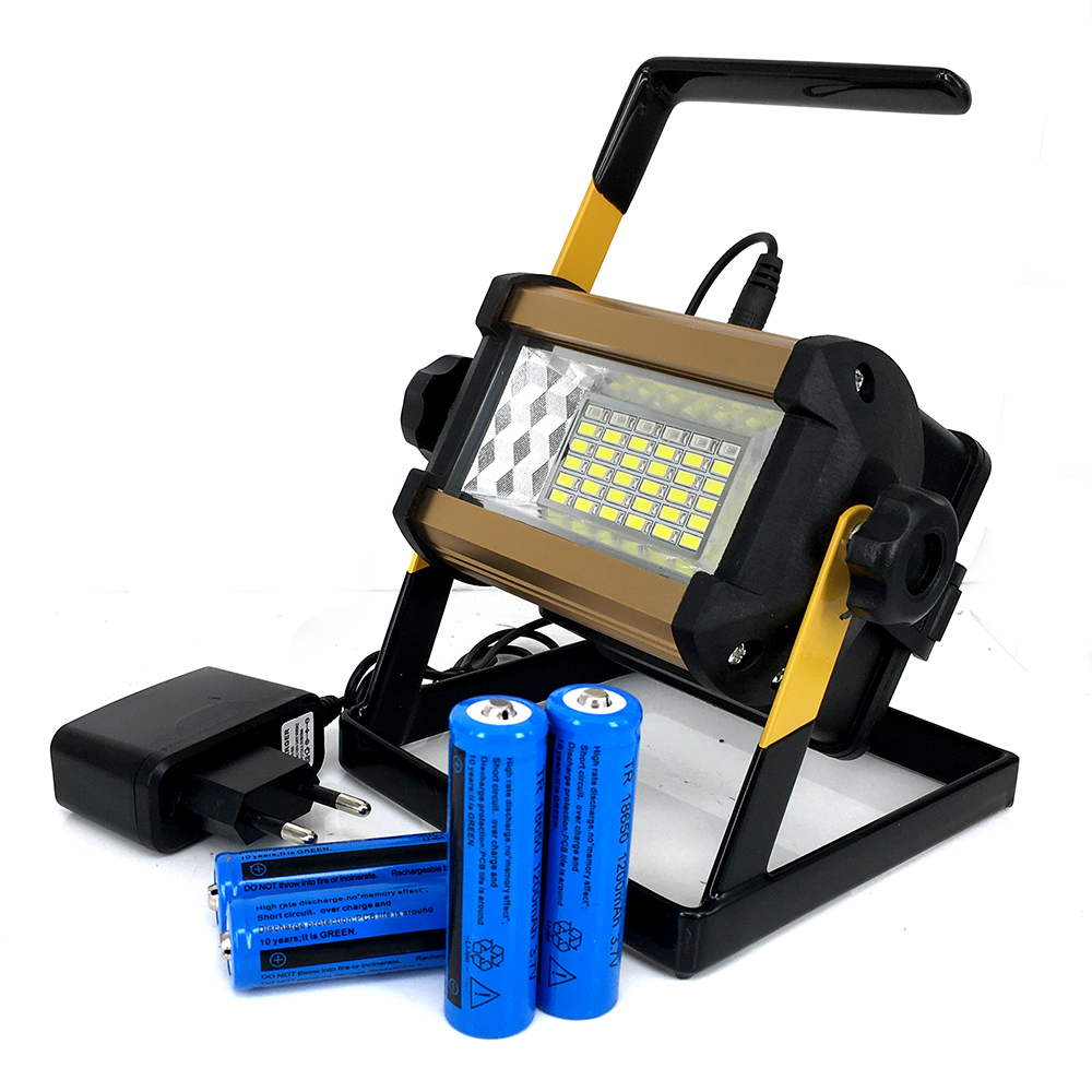 New Powerful Bright Waterproof IPX67 36LED Flood Lights 50W LED Floodlight Rechargeable +18650battery&charger new 6 18650 battery new powerful lights rechargeable led floodlight 100leds 2400lumen 100w flood lamp portable light