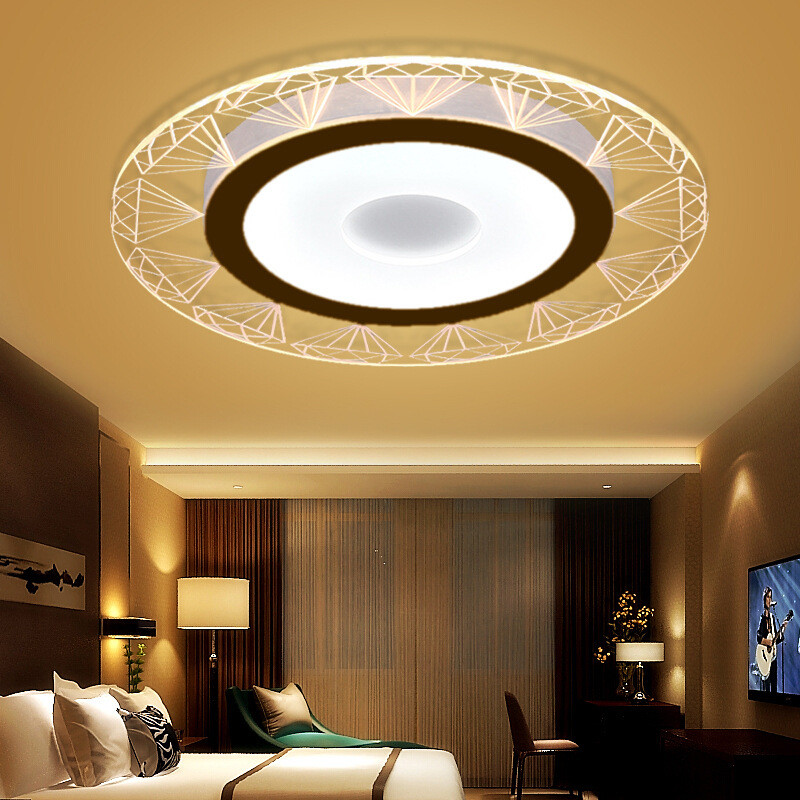 Ultra-thin modern minimalist LED ceiling lamp creative diamond warm round master bedroom living room lamp corridor aisle lights modern minimalist 9w led acrylic circular wall lights white living room bedroom bedside aisle creative ceiling lamp