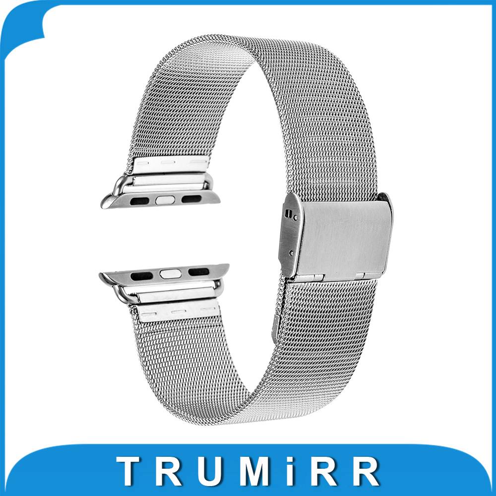 Milanese Stainless Steel Watchband + Adapter for iWatch Apple Watch 38mm 42mm Series 1 & 2 Wrist Band Link Strap Bracelet Silver stainless steel band bracelet wrist strap for 38mm 42mm iwatch apple watch sport edition with adapter