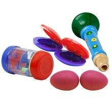 Музыкальные игрушки ударные инструменты индикатор ритма в том числе деревянный Рог+ рейнстик+ яйцо форма маракаса+ кастанеты