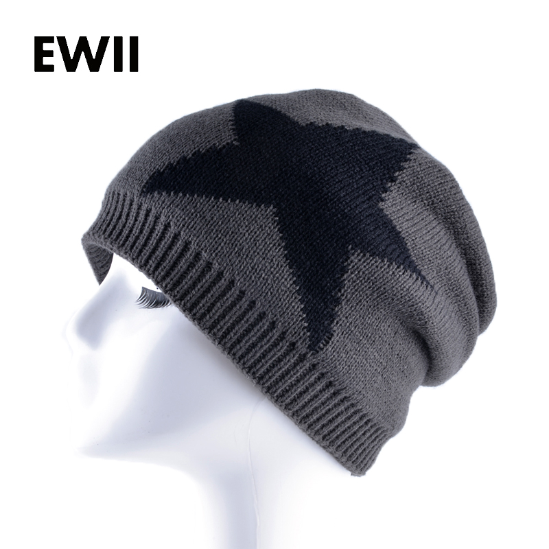 Five-pointed star knitted hats for men winter beanie caps women skullies beanies cap men casual warm hat chapeu masculino fine three dimensional five star embroidery hat for women girls men boys knitted hats female autumn winter beanies skullies caps