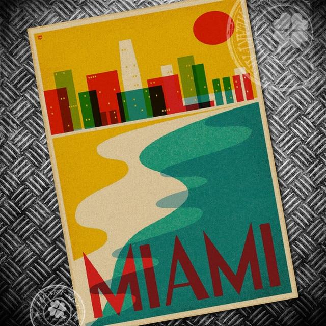 USA MIAMI CITY Vintage krafts poster Retro Painting living room bar ...