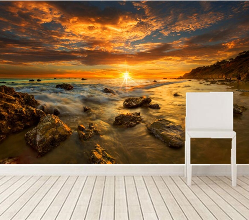 Custom large murals,Coast Sunrises and sunsets Stones Nature wallpaper,living room sofa tv wall bedroom papel DE parede custom 3d mountains sunrises and sunsets forest trees rays of light nature papel de parede living room tv wall bedroom wallpaper