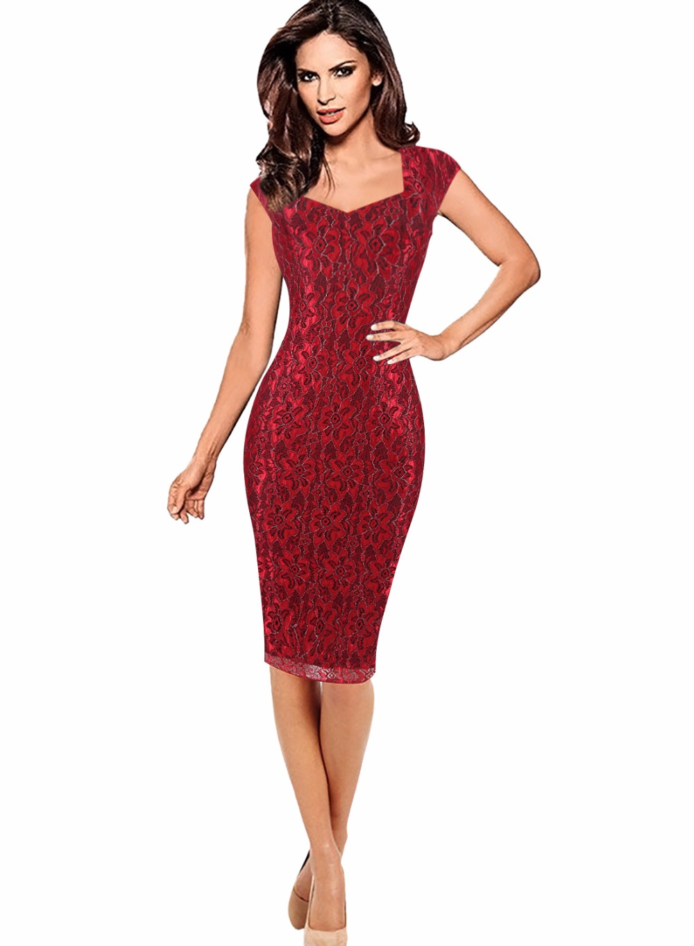 Yudian Trade Company New Design Sleeveless embroidery flowe lace slim pencil knee dress Vestido Lady vintage Party Elegant Sheath career dresses