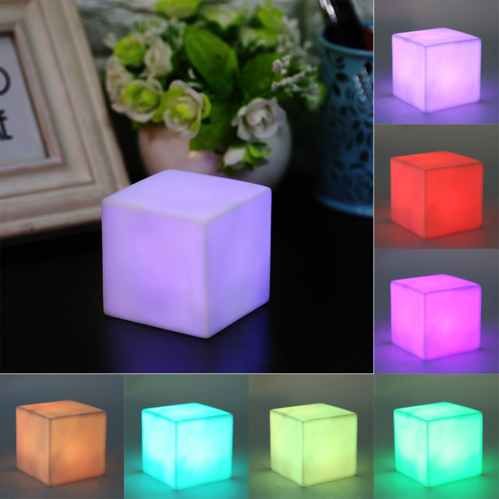 Com buy 10cm cube decorative battery operated rgb led table lamps - Led Color Changing Night Light Table Lamp Children Bedroom Light Mood Cube Lamp Gadget Home Party