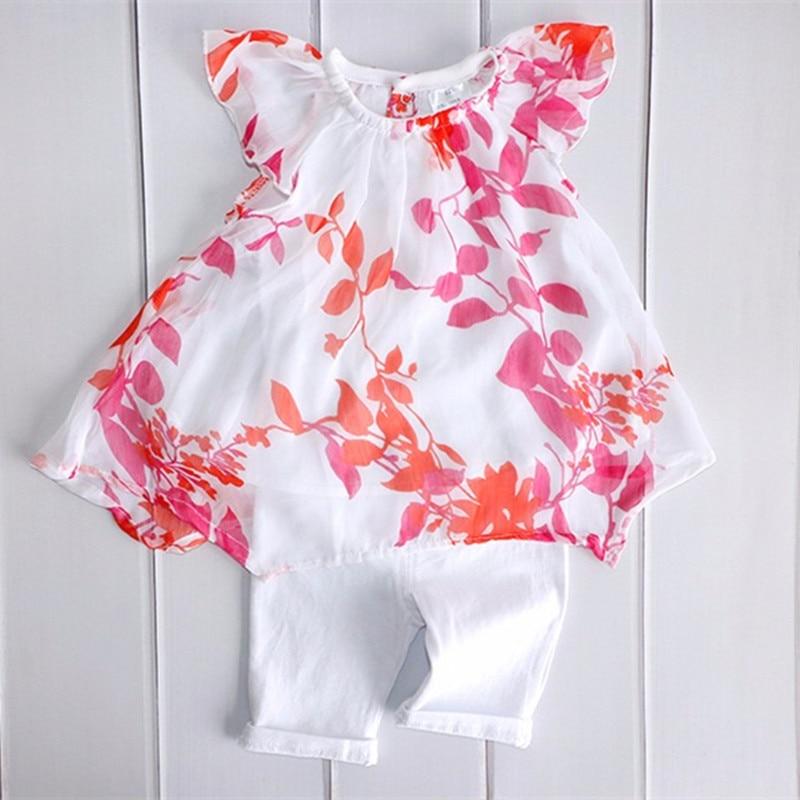 Drukowanie Baby Girl Clothes Set Kids Letnie szyfonowe bluzki + - Odzież dla niemowląt - Zdjęcie 2