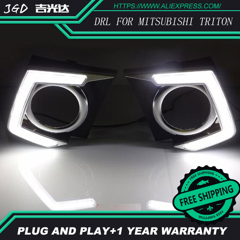 Case for Mitsubishi triton L200 2015 2016 Super Brightness Waterproof ABS Car DRL 12V LED Daytime Running Light Daylight ветровики prestige mitsubishi l200 triton strada 99 06
