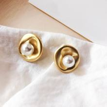 Vintage Baroque Style Big Stud Earrings For Women Gold-Color Metallic Earring Personality Temperament Fashion Jewelry Wholesale