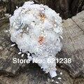Envío libre del CCSME, 2013 populares broche flor de organza con flores/beige suave ramo de novia/ramo de novia a medida