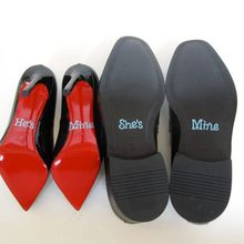 """Wedding decal , Wedding Shoe stickers -Clear white /blue Crystal Rhinestone -set of """"He's Mine"""" and ''She's Mine"""" free shipping"""