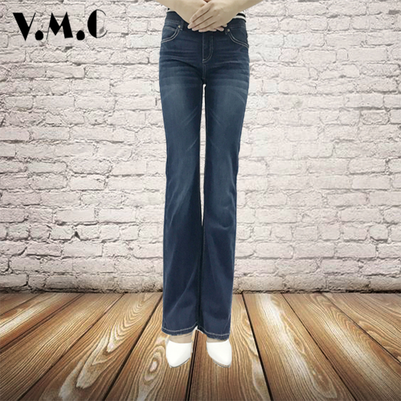 Flared Jeans Women Slim Comfort Waist Vintage Style Bell Bottom Jeans 2017 Deep Blue Soild Wide Leg VMC Brand Denim Female Pants charter club women s comfort waist slim leg pants 18 warm toffee
