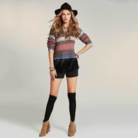 Sisjuly 2018 New Autumn Slim Sweater Stripe Patchwork Color Block Tassel Apparel O Neck Orange Pullover