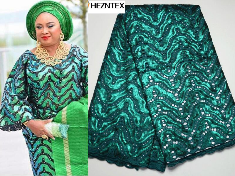 New Dark Green Organza laces Fabric 2019 African Laces Fabrics With Sequins High Quality French Net