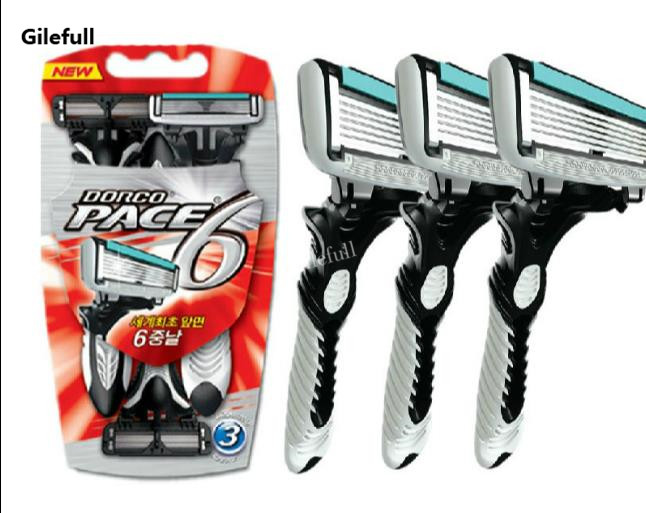 3pcs/pack Super Qualiy Personal 6 Blades Razor For Men Safe Shaver Comfort Shaving Razor Blades