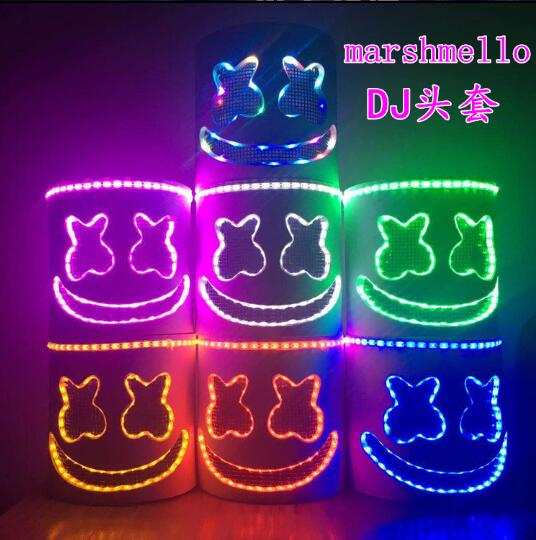HIGH QUALITY EVA Marshmello Helmet DJ Marshmello Mask Concert Props Future Bass Marshmello Music Fans Prop Bars Prop With LED
