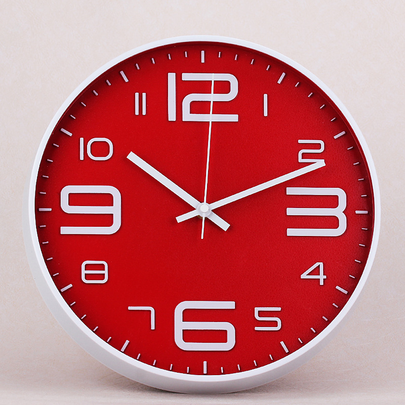 Red Modern Silent Big Wall Clock Quartz Kitchen Simple Wall Watch Diy Designer Digital Duvar Saati Wall Clocks Home Decor 50w186