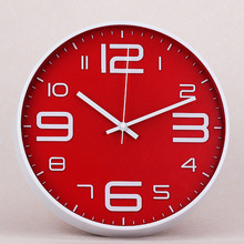 Red Modern Silent Big Wall Clock Quartz Kitchen Simple Watch Diy Designer Digital Duvar Saati Clocks Home Decor 50w186