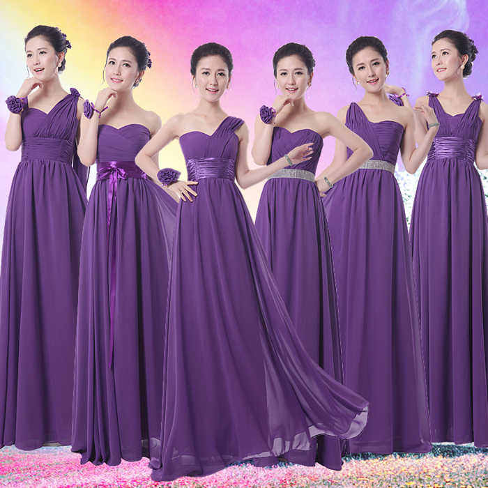 ad703c48e9 2017 new Bridesmaid Dresses plus size stock cheap under  50 purple chiffon  a line long sexy