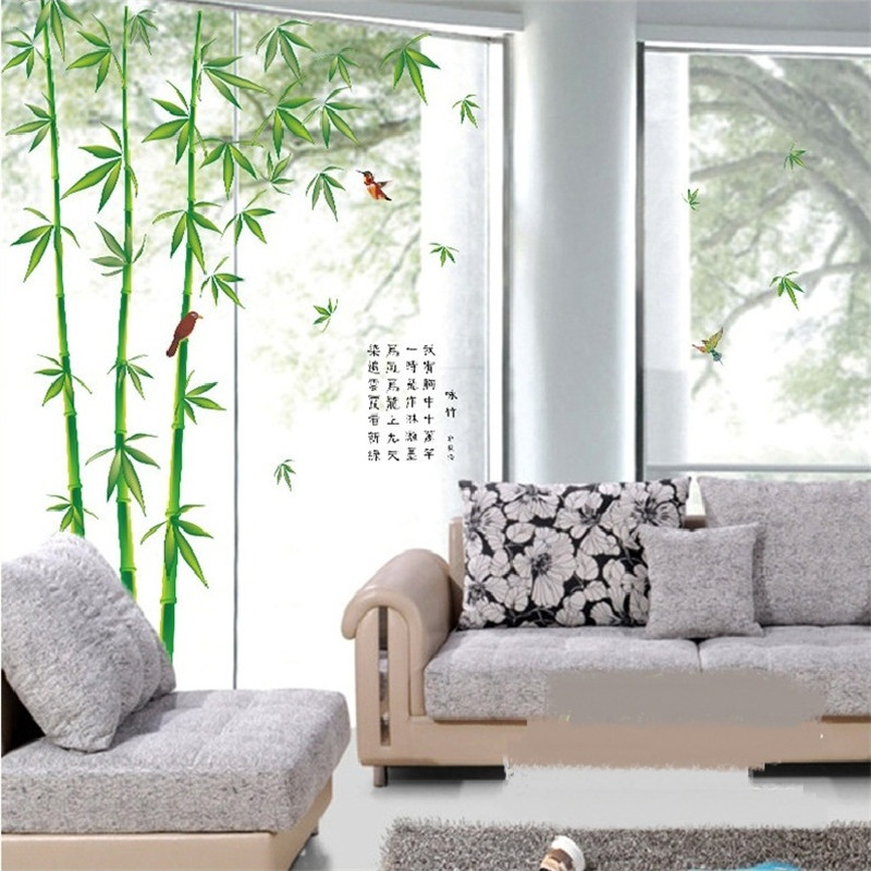Us 9 99 Fresh Bamboo Wall Stickers For Living Room Home Decoration Background Pvc Plane Plant Mural Door Diy Wallpaper Rushed Sale In Wall Stickers