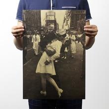 Поцелуй победы, винтажная крафт-бумага, Классический плакат, украшение дома, школы, офиса, художественные журналы, ретро плакаты и принты
