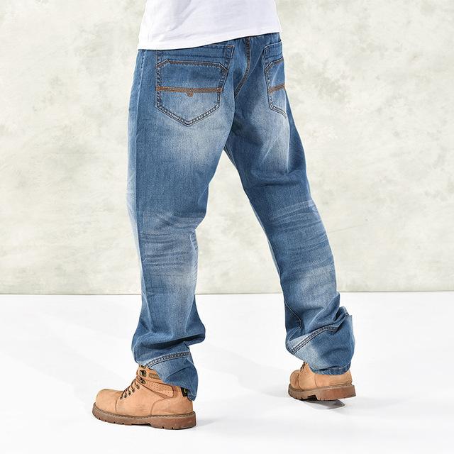 2016 otoño de la manera suelta más tamaño pantalones vaqueros holgados hip hop bailarines callejeros parkour azul claro pantalones para los hombres