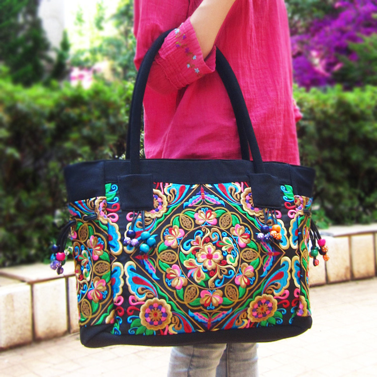 Free Shipping New Design Mid Size Embroidered Bags National Trend