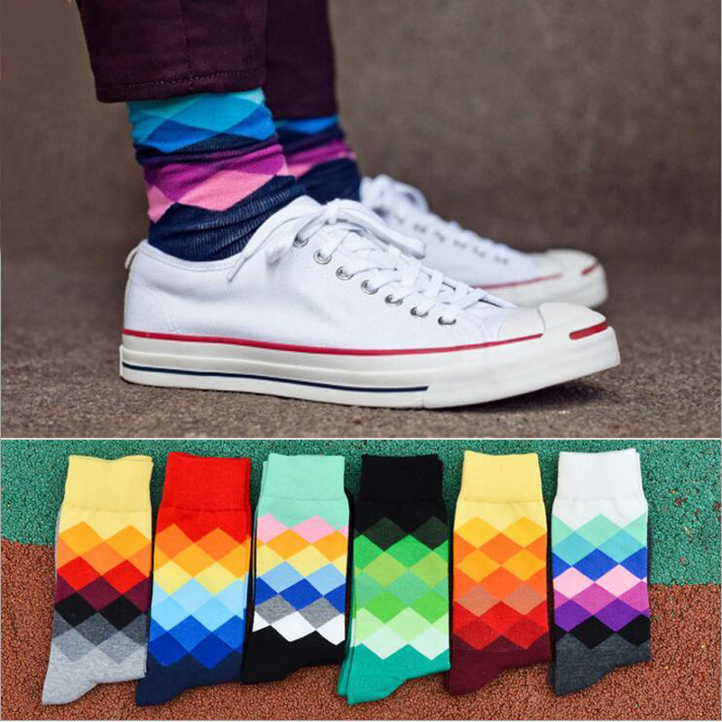 1pairs/ lot New Arrival Mens Cotton Socks Casual Brand Colorful Happy Socks Men High Quality Business Dress Crew Tube Socks Men