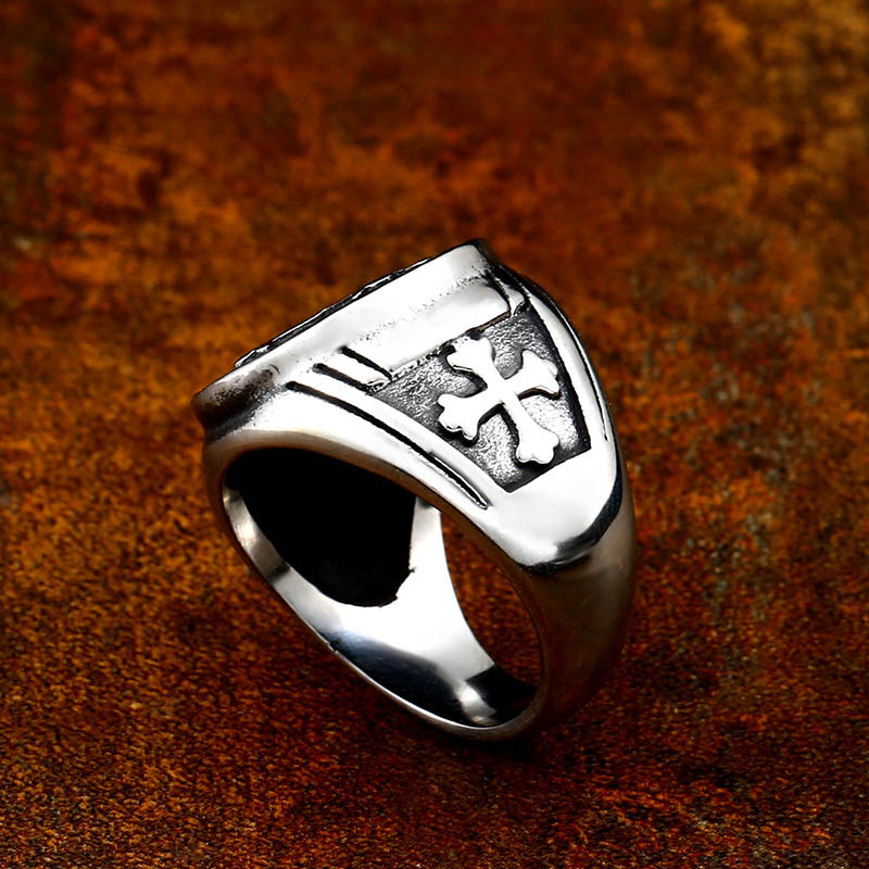 Байер 316L нержавеющая сталь письмо Вера Крест Иисуса Святого Бенедикта изгнание для мужчин кольцо ювелирные изделия LR623