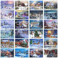 5D Diy Diamant Malerei Neue Jahr Kreuz Stich Voller Diamanten Stickerei Mosaik Landschaft Winter Landschaft Muster Weihnachten