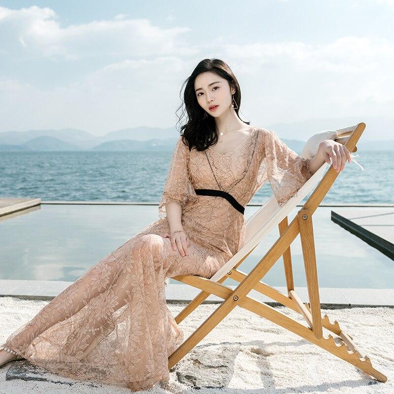 À l'été de 2018 la nouvelle de cinq femmes à manches longues en dentelle robe robe de plage de La Bohême robe jupe balnéaire vacances