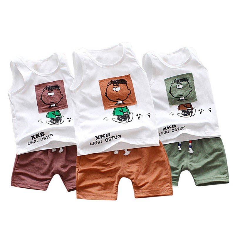 2018 Cute Children Clothing T-shirt Baby Boy Clothes Set Fashion Cartoon T-shirt + Shorts Baby Clothes Set 2018 Vest Boy Tops
