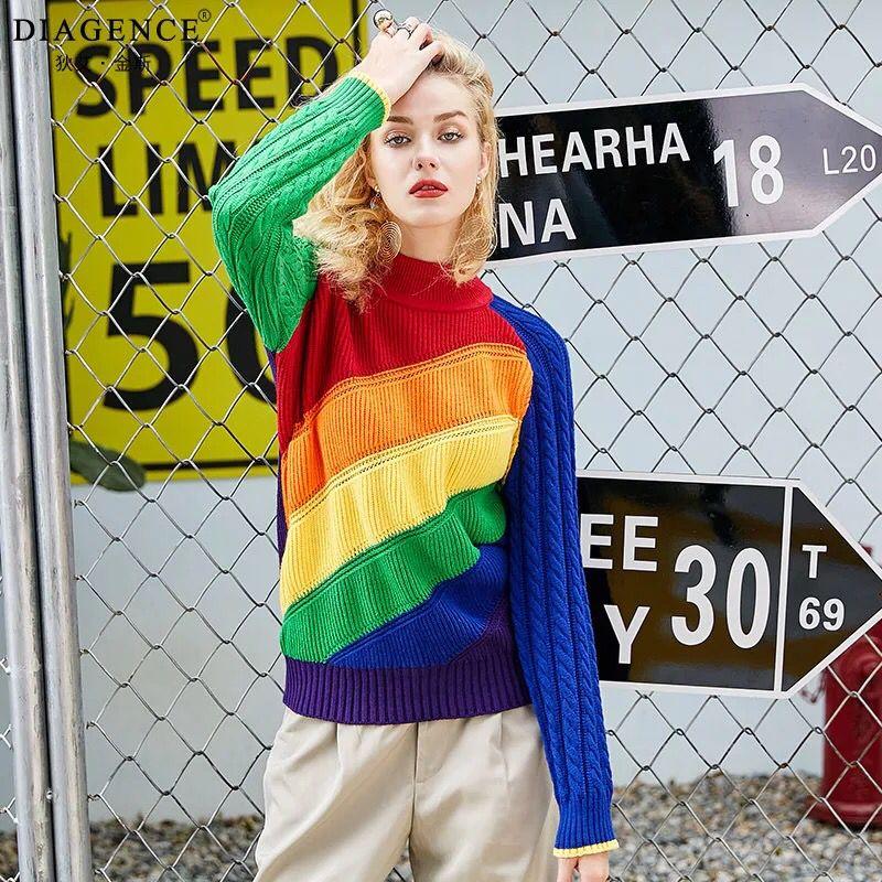 Chandails femmes arc-en-ciel rayé couleur bonbon Patchwork 2018 automne femme col roulé Streetwear pull hauts amples